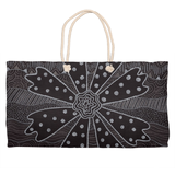 Charcoal Daisy Weekender Tote Bag features a black and white flower print with dots.  The Art of Wendy Christine.  Purchase at Raspberry Lane Crafts.