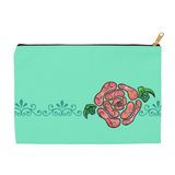Blue Stone cosmetic carry-all bag is mint green with pink rose.  For sale at Raspberry Lane Crafts.