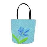 Aqua blue flower tote bag for sale - Himalayan Blue Poppy Tote Bags from The Art of Wendy Christine
