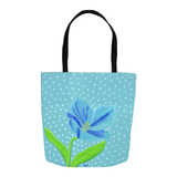 Aqua blue flower Tote Bags with Dots Spots for Sale at Raspberry Lane Crafts.