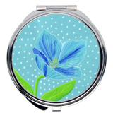 Blue Poppy Flower with Dots Compact Mirrors for Sale for Purse and Make-up.  The Art of Wendy Christine.