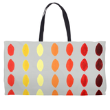 Orange Yellow Red on Gray Weekender Tote Bags for Sale