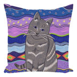 Buy City Cat Throw Pillow.  From artwork by Wendy Christine.