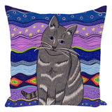 Find purple throw pillows with cats at Raspberry Lane Crafts