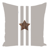 Buy Taupe Star Throw Pillow which features a gray pillow with brown star and white stripes.  Raspberry Lane Home Collection