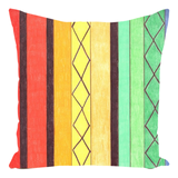 Green Yellow Orange Striped Throw Pillows by The Art of Wendy Christine.  Find Purchase Sale.