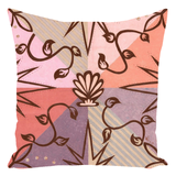 Shell Speck Throw Pillows for Sale feature a scallop shell outline in brown with floral flourishes on mauve pink peach and tan triangles.  Buy Purchase Find.