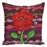 Decorative Throw Pillows for Sale.  Red Rose on Burgundy by Wendy Christine