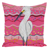 Purchase great throw pillows at Raspberry Lane Crafts Pink Accent Pillow with Egret.