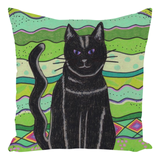 Find Green Throw Pillows with Cat