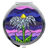 Purchase Find Compact Mirrors for Sale at Raspberry Lane Crafts.  Grapesugar is a round compact mirror with a flower by Wendy Christine.