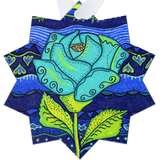 Aqua Rose Metal Ornaments