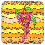 Pink Grapes on Yellow Drink Coasters to Buy at Raspberry Lane Crafts