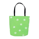 Buy Parrot Green Dot Tote Bags in Many Sizes by Wendy Christine
