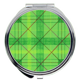 Green Plaid Compact Mirrors