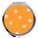 Beach Orange Dot Purse Travel Compact Mirrors for Sale from Wendy Christine at Raspberry Lane Crafts
