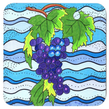 Purple Grapes on Blue Drink Coasters to Purchase at Raspberry Lane Crafts