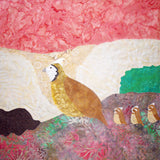A Trail of Quail by Wendy Christine at Raspberry Lane Crafts features a sunset pink background with a foreground of a quail and her three chicks.