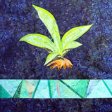 Agave with Stained Glass features a green pointed plant with orange root ball and a strip of aqua pieced batik fabrics on a dark navy print background from Raspberry Lane Crafts.