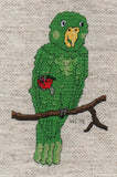 Amazon parrot is a green tropical bird cross stitched on AIDA fabric holding a red berry on a brown branch.  Pattern sold at Raspberry Lane Crafts.