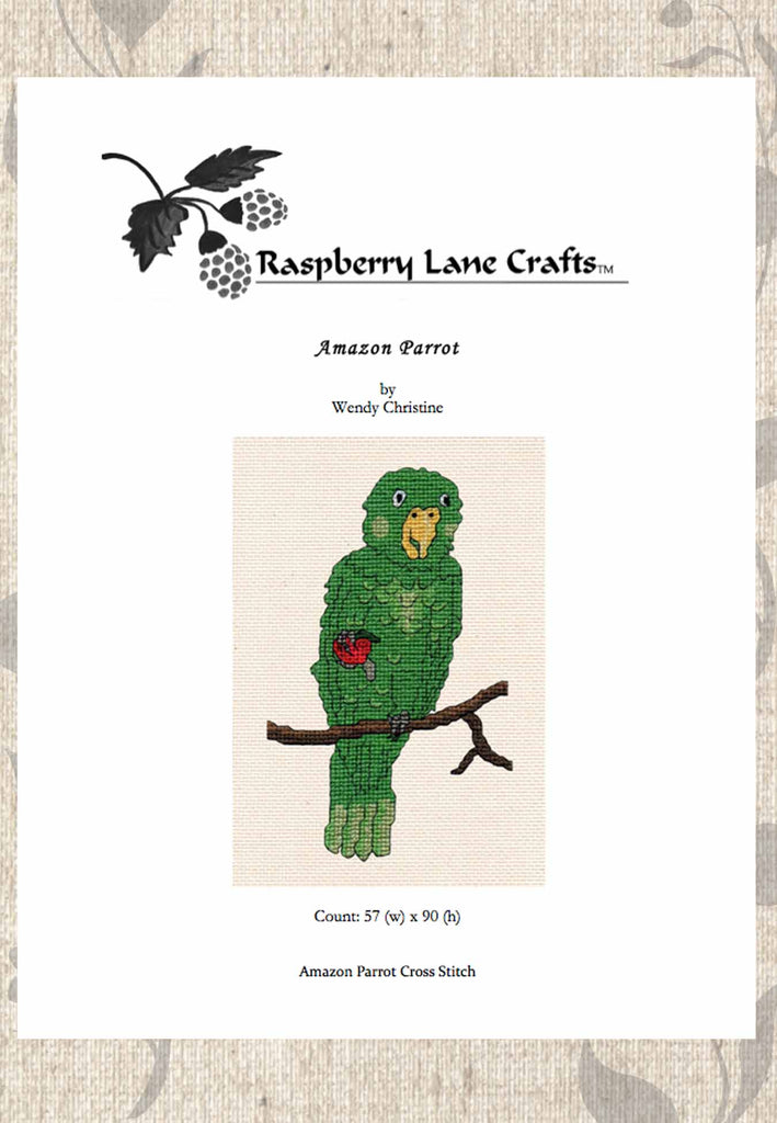 Buy green parrot cross-stitch pattern at Raspberry Lane Crafts.  Digital Download