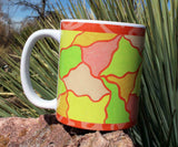Yellow Green Pink Orange Mugs for sale by Wendy Christine.  Art Mug Ambrosia.  Find at Raspberry Lane Crafts
