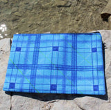 Blue plaid accessory pouches for sale at Raspberry Lane Crafts