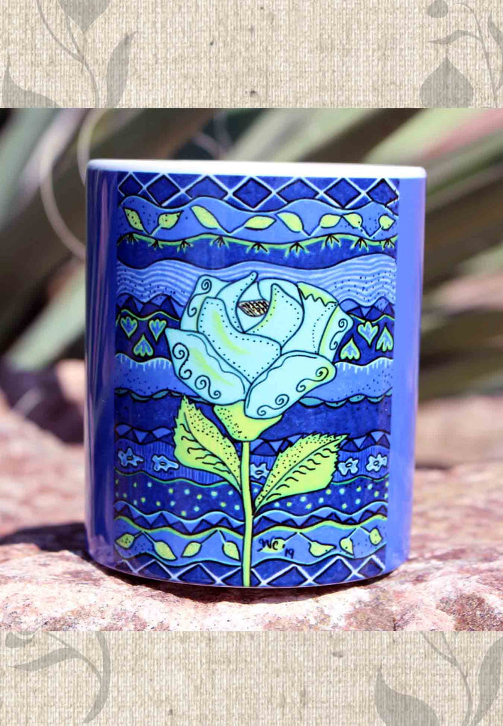 Buy Aqua Rose Blue Flower Coffee Cup Mug at Raspberry Lane Crafts.  The Art of Wendy Christine