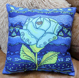 Cobalt blue throw pillows for sale with blue rose