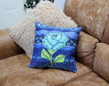 Blue flower decorative pillow for sale Aqua Rose Throw Pillows at Raspberry Lane Crafts