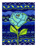 Cobalt Blue Aqua Rose Art Print for Sale from Art of Wendy Christine