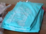 Imperial Guardian Lion graphic t-shirt tee aqua blue with white graphic for men for sale