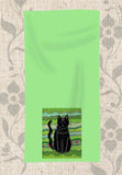 Arbor Cat Hand Towel by Wendy Christine features a green towel with black cat art rectangle at lower half.  Find Buy Purchase at Raspberry Lane Crafts.