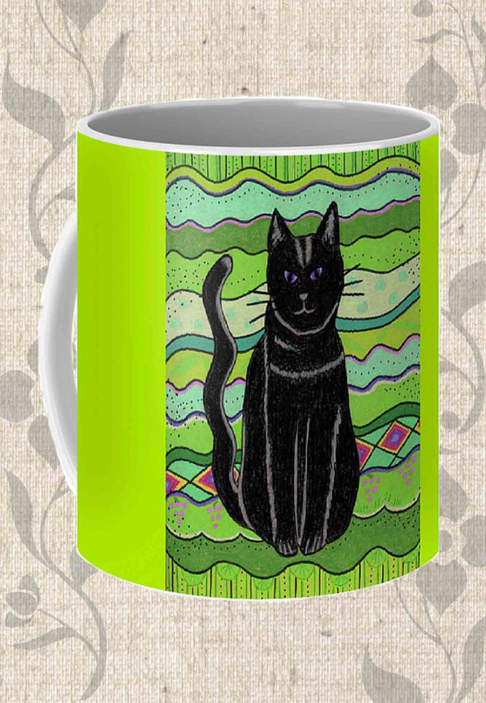 Buy Purchase Find Lime Green Black Cat Coffee Mug.  The Art of Wendy Christine