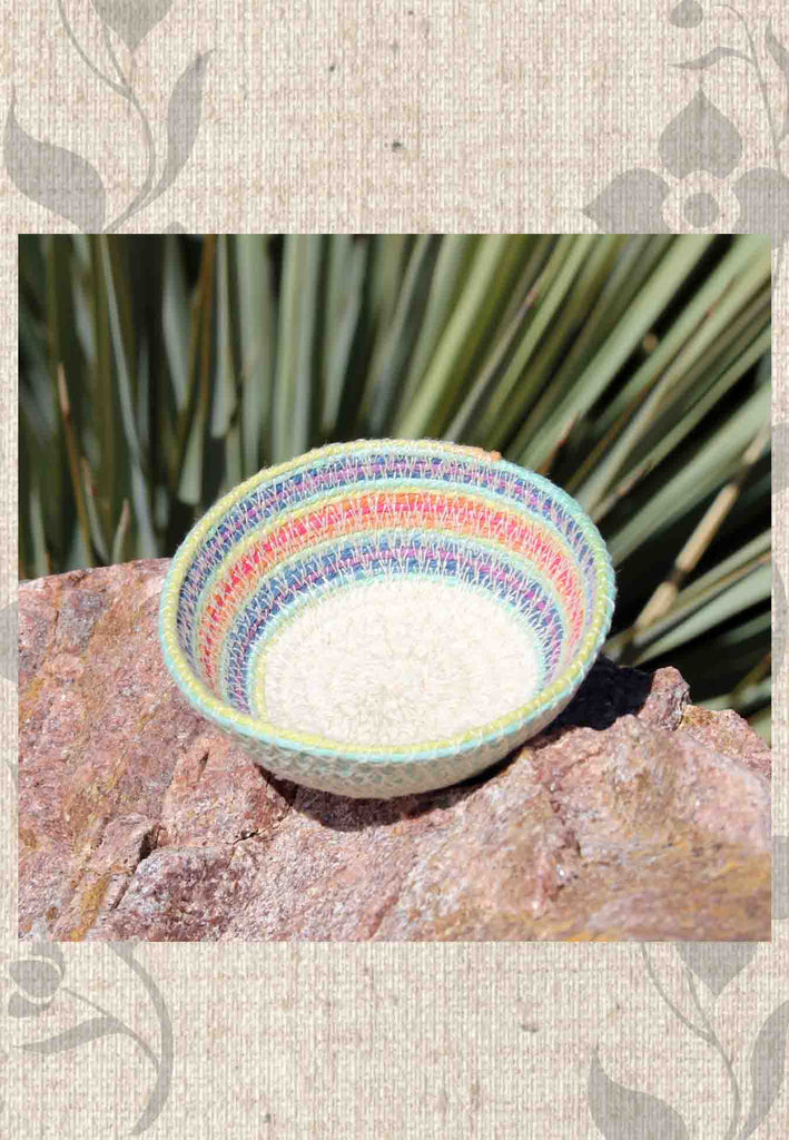 Buy rainbow aqua mini basket at Raspberry Lane Crafts Hand-Crafted Art Baskets