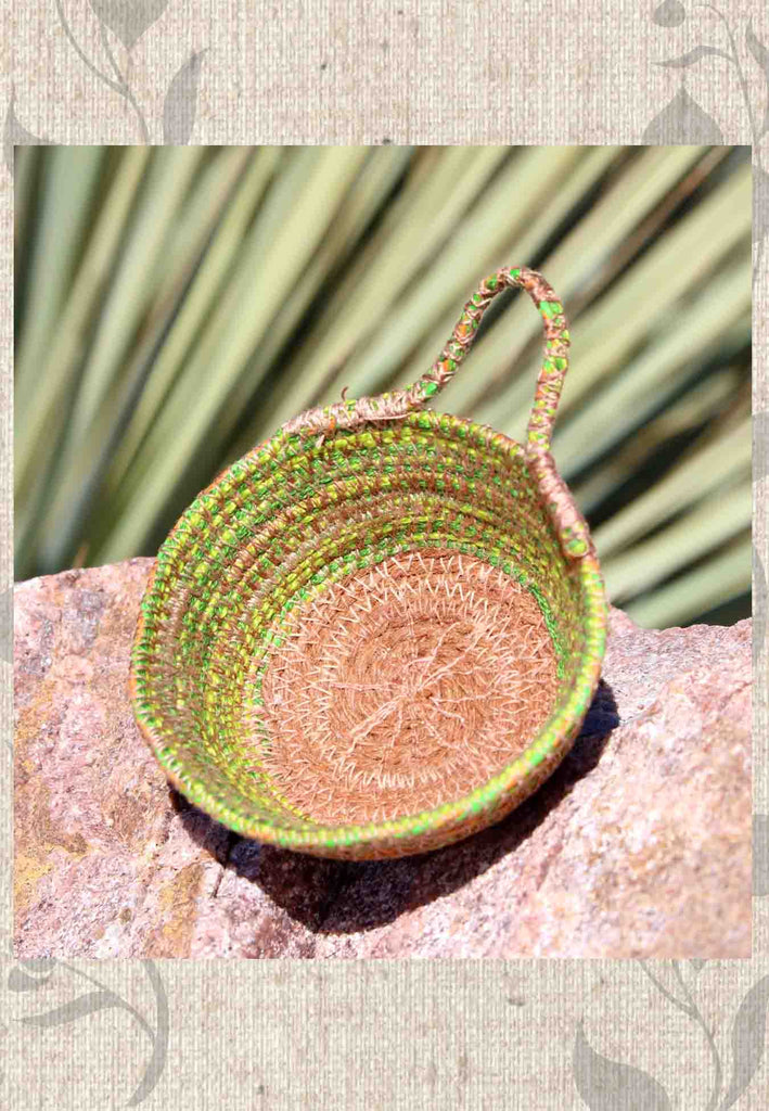 Artisan green brown mini basket hand-crafted for sale at Raspberry Lane Crafts.