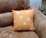Orange Spotted Decorative Pillows from Wendy Christine for sale at Raspberry Lane Crafts