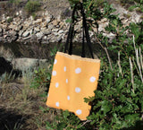 Great Orange Spotted Tote Bags for Work and Play Buy Purchase Find at Raspberry Lane Crafts The Art of Wendy Christine