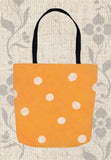 Beach Orange Dot Spotted Tote Bags for Sale at Raspberry Lane Crafts