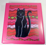 Circus Cat hot pink 3-ring binder from the art of wendy christine at Raspberry Lane Crafts. For sale purchase buy.   Unique school supplies.