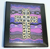 Plum Cross is a Southwest tan cross print on purple and violet in a black 3-ring binder from The Art of Wendy Christine at Raspberry Lane Crafts