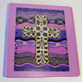 Violet Plum Cross Spanish decorated 3-Ring Binder Beautiful Organization from the Art of Wendy Christine