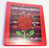 Red rose 3-ring binder Plum Wine from the Art of Wendy Christine at Raspberry Lane Crafts.