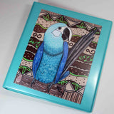 Blue parrot Spix's macaw art in 3-ring binder 1-inch for sale at Raspberry Lane Home Collection