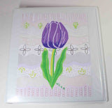 Violet Tulip 3-ring binder 1 inch for sale. The Art of Wendy Christine at Raspberry Lane Crafts.