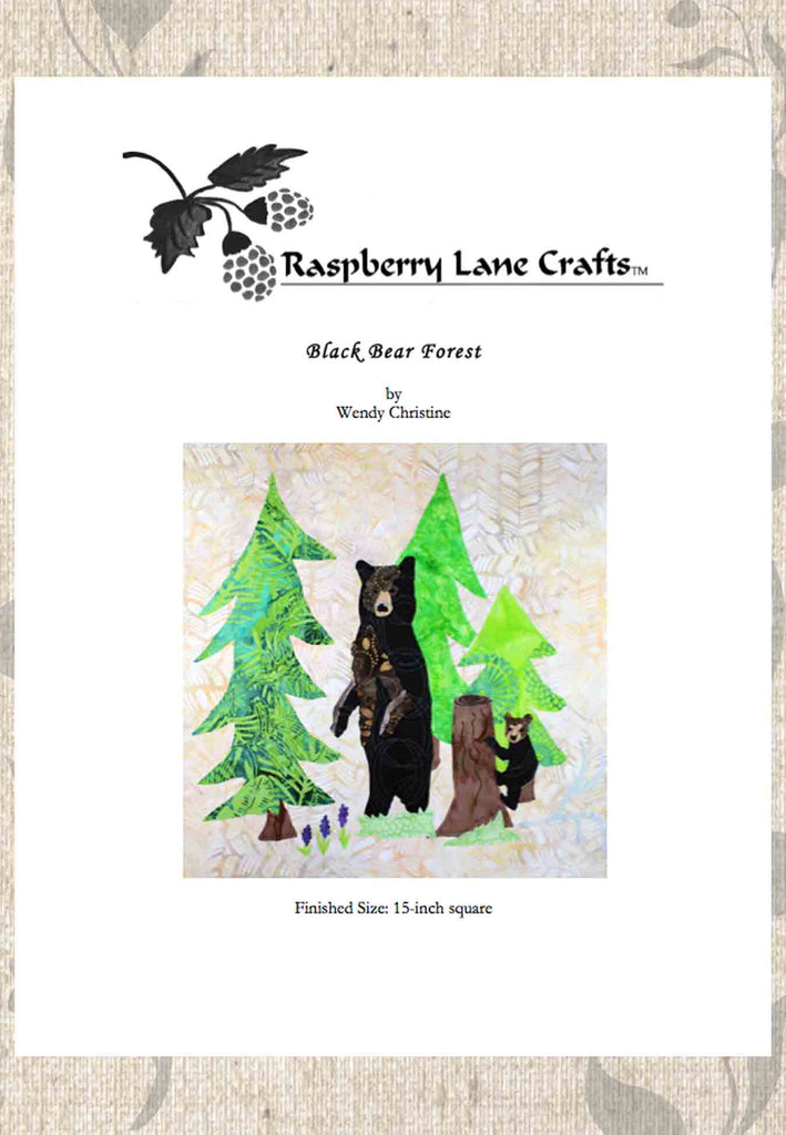 Black bear standing with cub climbing stump of tree in bright green forest quilt block pattern digital download for sale at Raspberry Lane Crafts.