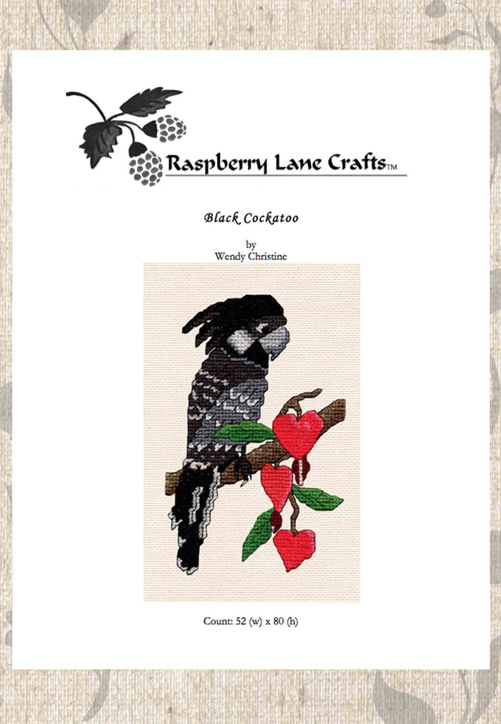 Buy black cockatoo parrot cross stitch pattern