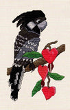 Purchase Black Cockatoo with Bleeding Hearts cross stitch pattern displays a black and gray parrot on a branch with hot pink bleeding heart vine by Wendy Christine at Raspberry Lane Crafts digital download for sale