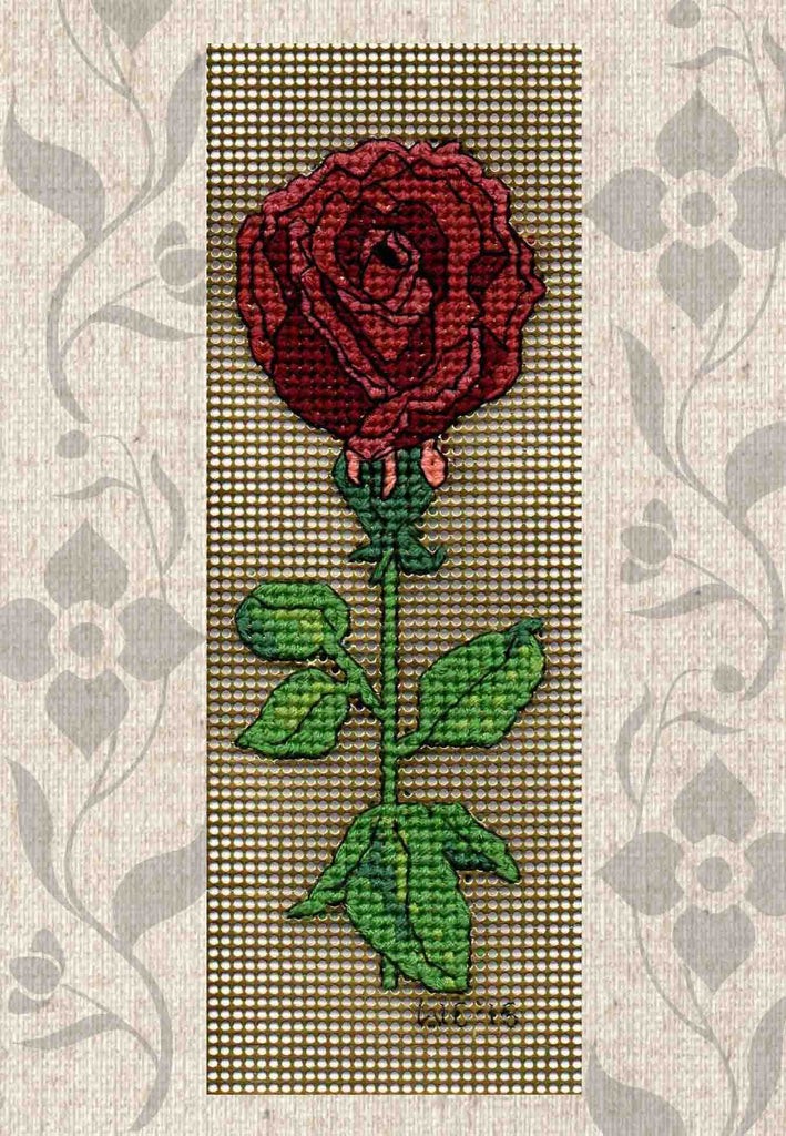 Black Red Rose Bookmark Cross Stitch Pattern for Sale at Raspberry Lane Crafts