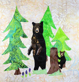 Black Bear Forest Quilt Block Pattern Digital Download